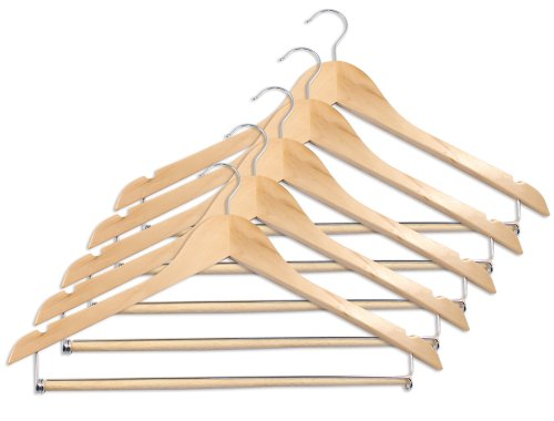 Closet Complete Wood Suit Hanger with Locking Bar, Natural, Set of 5 (Suit Hanger With Locking Bar compare prices)