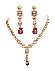Rubera's Kundan Necklace Set With Ruby Drops