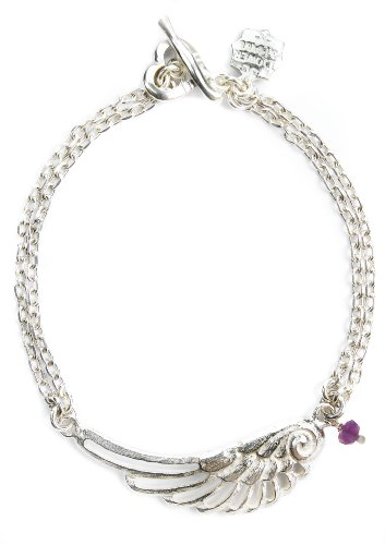 Dower & Hall, Angel - Solid Sterling Silver Filigree Angel Wing & Amethyst Bead Double Trace Chain Bracelet