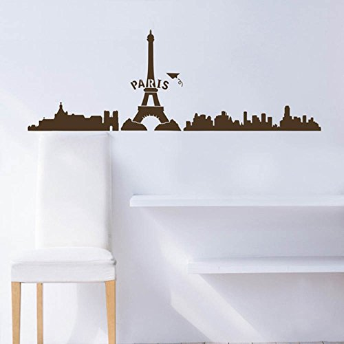 Paris Eiffel Tower City Sticker Decal Home Decor For Living Bed Room Study Studio Bar, Coffee