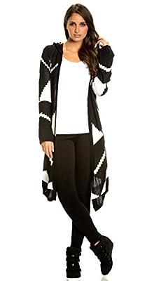 Elan Women's Tribal Print Duster Style Sweater Coat
