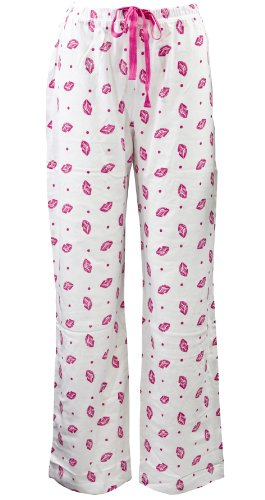 Leisureland Women's Cotton Knit Pajama Sleepwear Lounge Pants Smooch Kiss Lips Print White Large