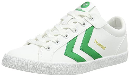 HummelDEUCE COURT SPORT - Scarpe da Ginnastica Basse Unisex - Adulto , Bianco (Weiß (White/Fern Green 9165)), 44