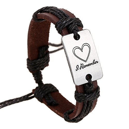 Nice Buckeye Engraved Heart of Love Retro Style Brown adjustable length leather bracelet