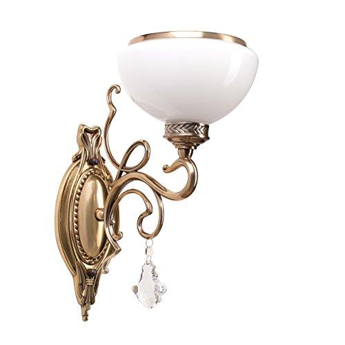 Applique style classique, armature en métal couleur laiton, plafonniers en verre opale 1 ampoule non-incl. E27 1x60W 230V