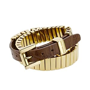 Michael Kors MKJ1070 Gold Double Wrap Bracelet with Dark Brown Leather Band