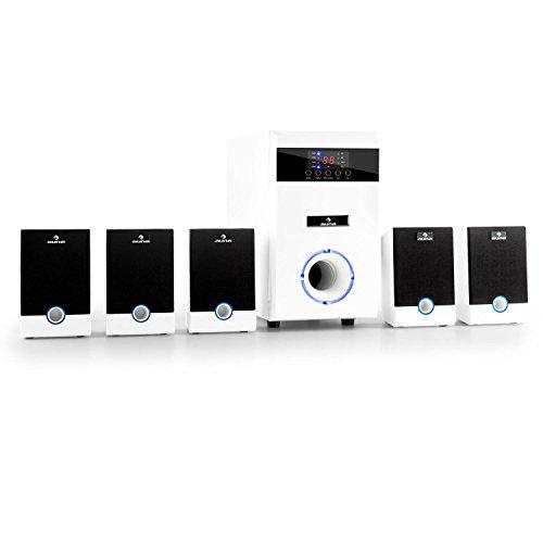 5.1-JW Surround Lautsprecher Set aktives Heimkino Lautsprechersystem mit Fernbedienung (95 Watt RMS, AUX, Sleeptimer, Pianolack-Front, LED-Lichteffekt) weiß