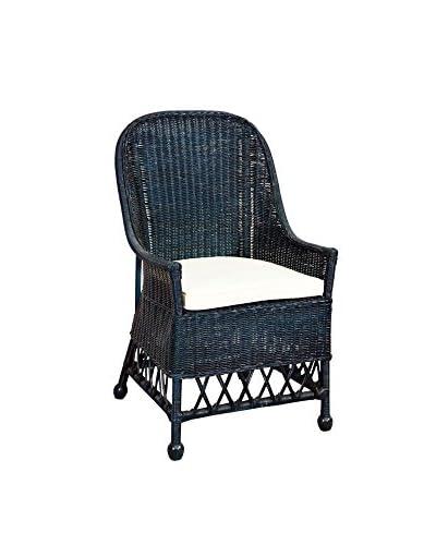 Jeffan Daphnie Rattan Arm Chair, Navy Blue