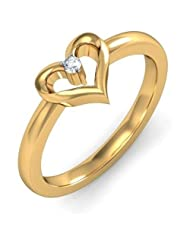 0.025 CT 14K Yellow Gold Over Sterling White CZ Diamond Love Heart Ring For Women's
