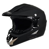 PGR X25 Youth Motocross MX BMX Dirt Bike Dune Buggy Enduro ATV Quad Off Road DOT APPROVED (Matte Black, Youth X-Large)