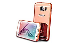 Aart Luxury Metal Bumper + Acrylic Mirror Back Cover Case For SamsungS6Edge RoseGold+ Flexible Portable Mount Cradle Thumb OK Designed Stand Holder