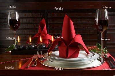 Wallmonkeys Peel and Stick Wall Graphic - Christmas Dinner Table with Red Accents of Placemats and Napkins - 24