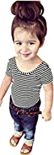 Toddler Girl Summer Backless Black T Shirt Stripe Short Sleeve and O-neck for 2t-s4