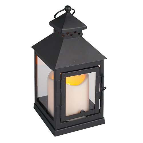 Everlasting Glow Led Candle And Mini Square Metal Lantern With Plexi Glass