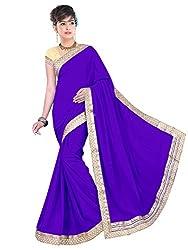Sonani Fashion Designer Blue Plain Georgette Party Wear Saree With Blouse Piece