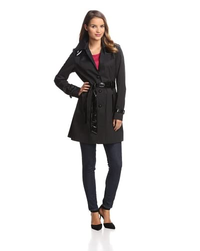 Via Spiga Women's Trench with Faux Leather  [Black]