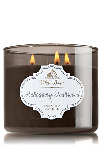 1 X Bath & Body Works Mahogany Teakwood Scented Candle 14.5 Oz - 3 Wick Candle Bath