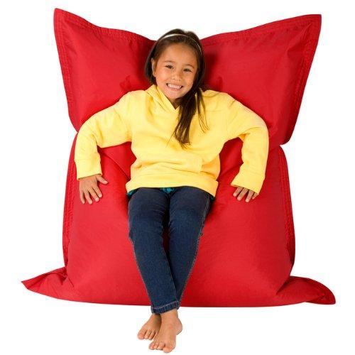 Hi-BagZ® KIDS Bean Bag Vierweg Liege - RIESIGER Kinder Sitzsack Outdoor Bodenkissen ROT - 100% Wasserabweisend