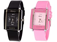 Addic Combo Of Two Watches-Baby Pink Rectangular Dial Kawa And Black Rectangular Dial Kawa Watch