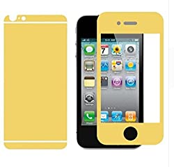 Piloda High Quality Electroplated/Electroplating Mirror Front + Back Tampered Glass Screen Protector for Apple iPhone 4s