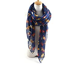 AngelShop Women Bearded Dog Printed Encryption Scarves Shawl BYWJ