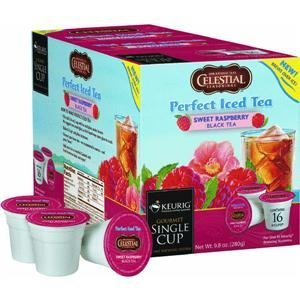 Celestial Seasonings 16 Sweetened Raspberry Perfect Iced Tea K-Cups for Keurig Coffee Makers
