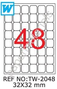 TANEX tW - 2048 code qR étiquettes blanc 32 x 32 mm -abgerundet- 100 feuilles de format a4