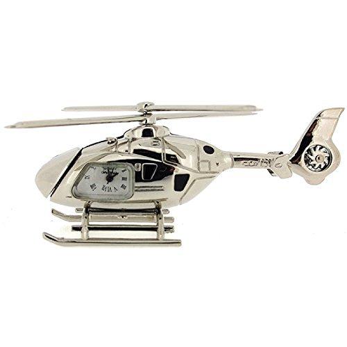 Reloj Miniatura Novelty de Colección Modelo Helicóptero Color Plateado 9699