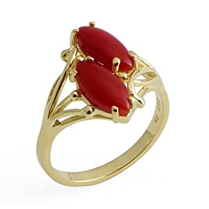 Red Coral Ring in 14K Yellow Gold by Maui+Divers+of+Hawaii