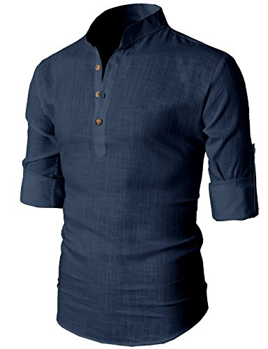 h2h-mens-simple-designed-roll-up-sleeve-popover-shirt-navy-us-m-asia-l-kmtstl0291