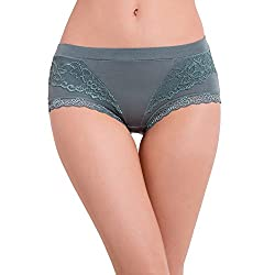 Pavvoin Women's Green Brief Panty - Size - Small