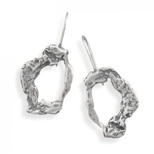 MMA Silver - Oxidized Abstract Design Earrings