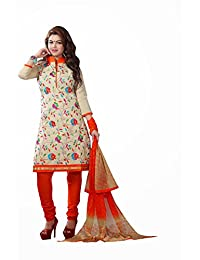 AASRI Party Wear Cotton Embroidered 3 Piece Unstitched Salwar Suit 6002