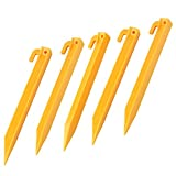 Generic 22.5cm Plastics Endurable Camping Awning Tent Stakes Pegs Pins 5pcs Yellow