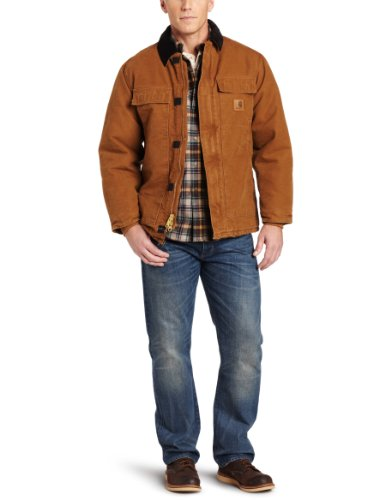 Carhartt Men'S Arctic-Quilt Lined Sandstone Duck Traditional Coat C26, Carhartt Brown, Large back-190135