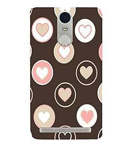Brown and Pink Love Hearts 3D Hard Polycarbonate Designer Back Case Cover for Lenovo K5 Note :: Lenovo Vibe K5 Note Pro