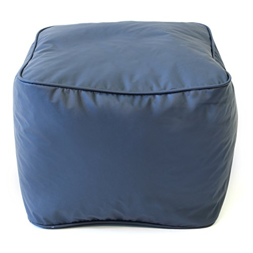 Gold Medal Leather Look Vinyl Ottoman, Small, Navy