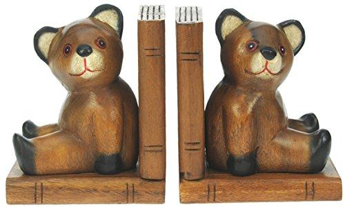 serre-livres-ours-hand-carved-cadeaux-en-bois-traditionnels-lot-de-2-top-noel-et-cadeau-danniversair