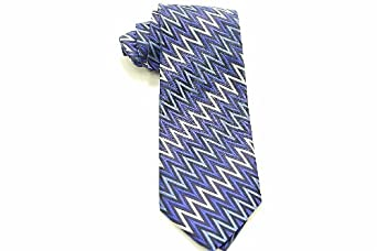 Missoni Men's 100% Silk Blue Zig Zag Patterned Tie 3615