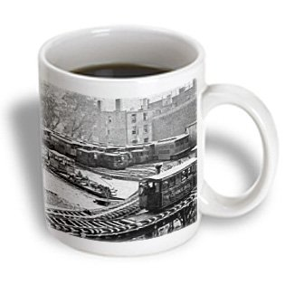 3Drose Mug_97708_2 New York City Train On Ny Elevated Railroad Yonkers Switch Station 1860S Ceramic Mug, 15-Ounce