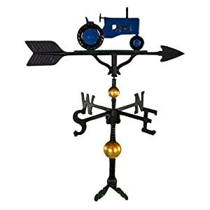 Montague Metal Products 32-Inch Deluxe Weathervane with Blue Tractor Ornament