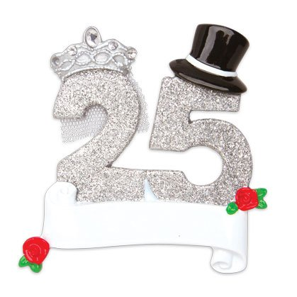 PERSONALIZED CHRISTMAS ORNAMENTS COUPLES- NEW 25TH WEDDING ANNIVERSARY