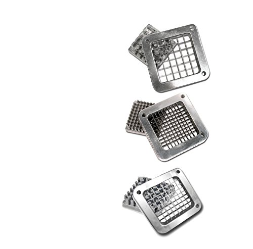 "TigerChef TC-20499 Heavy Duty Commercial Grade French Fry Cutter Replacement Blades Set, Includes 1/4"", 3/8"" and 1/2"" Blades and Pusher Blocks Compatible with Winco, Thunder Group"