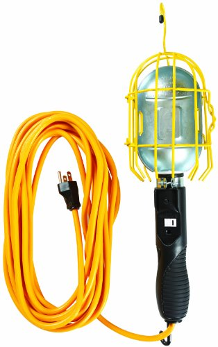 Yellow Jacket 2893 16/3 SJTW Trouble Light Work Lights with Metal Guard and Outlet, 25-Feet