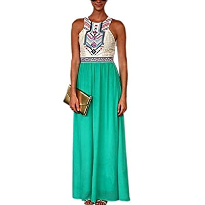 Ibagstyle® Women's Summer Bohemian Floral Print Full Length Maxi Dress