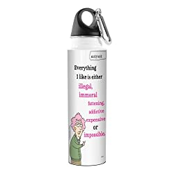 Tree-Free Greetings Aunty Acid Artful Traveler Stainless Steel Water Bottle, 18-Ounce