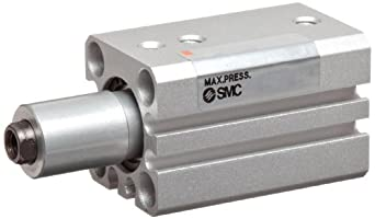 SMC MK-Z Series Aluminum Rotary Clamp Air Cylinder, Counterclockwise Rotation, Compact, Double Acting, Through Hole Mounting, Switch Ready, Cushioned
