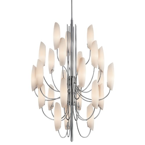 B0048HVMEE 42214CH Stella 24LT Chandelier, Chrome Finish with Satin Etched Cased Opal Glass