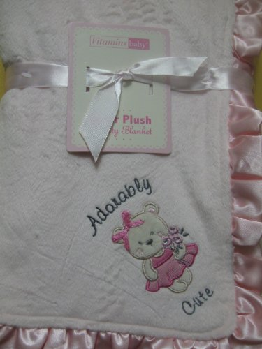 "Vitamins ""Adorably Cute"" Teddy Bear Ruffled Blanket front-983420"