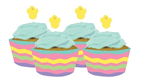 Egg and Chick Cupcake Wrappers with Toppers